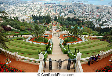 sanctuaire, israël, bahai, célèbre, jardins