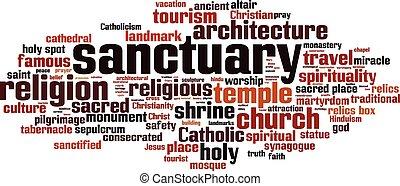 Sanctuary-horizon.eps - Sanctuary word cloud concept. Vector...