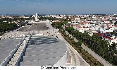 Sanctuary of Fatima, Portugal. View from sky in motion.