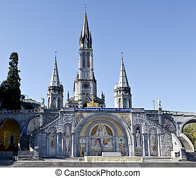 The Sanctuary of Our Lady of Lourdes is an area of ground surrounding the shrine (Grotto) to Our Lady of Lourdes in the town of Lourdes, France.