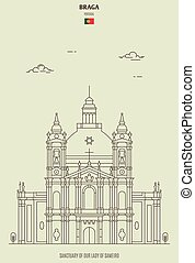 Sanctuary of Our Lady of Sameiro in Braga, Portugal. Landmark icon in linear style
