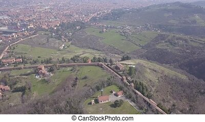 Sanctuary of the Madonna di San Luca Bologna Italy - Aerial...