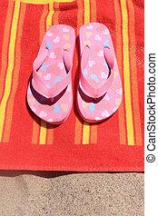 sandálias, ligado, toalha praia