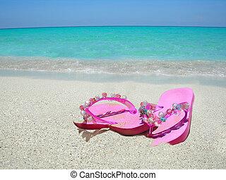 sandálias, praia