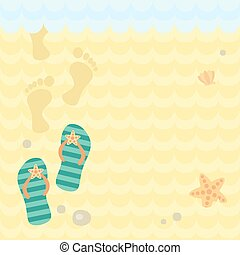 sand., 足跡, 皮ひも, 浜