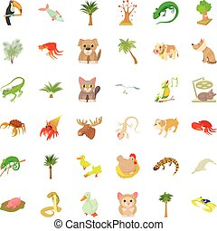 Sand animal icons set, cartoon style
