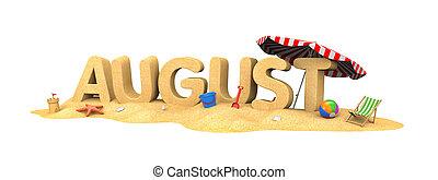 sand., august-, palabra, ilustración, 3d
