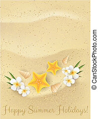 Sand background with starfishes