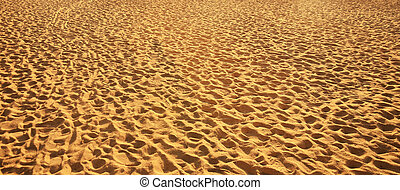 Sand backgrounds and texture with footprints.
