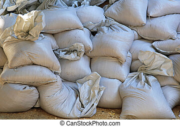 Sand bags - Big pile of sand bags for floods emergency