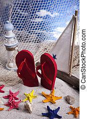 Sand beach and flip flops