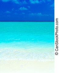 Sand beach and ocean wave, Ari-Atoll. Maldives