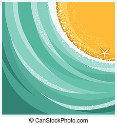 Sand beach and sea waves background. Vector summer ...