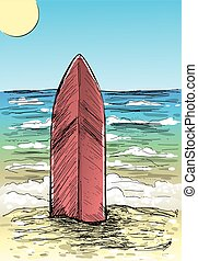 Sand beach and surfboard