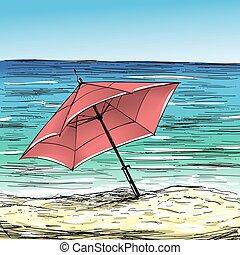 Sand beach and umbrella