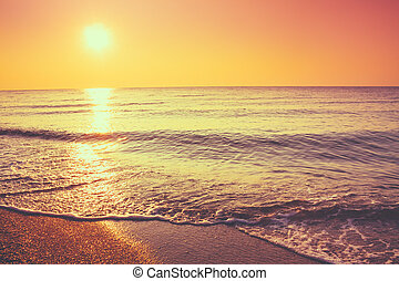 Sand Beach And Wave - Soft Sea Ocean Waves Wash Over Golden...