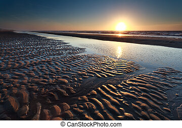 sand beach at low tide and sunset
