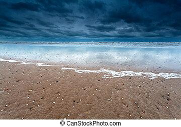 sand beach at storm on North sea