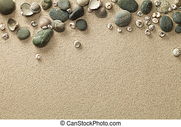 Sand, Beach Background with Shells and Stones