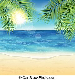 Sand beach. - Sand beach and the palm branches at sunset...