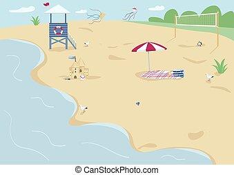 Sand beach flat color vector illustration. Blanket with sun ...