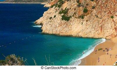 Sand beach from high view, Kaputas beach in Turkey,...
