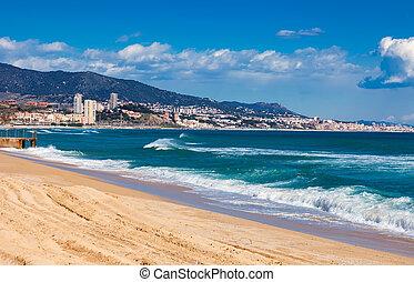 Sand beach in Badalona. Barcelona