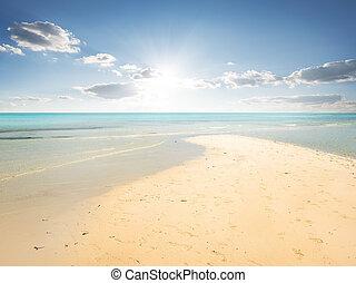 Sand beach in lagoon