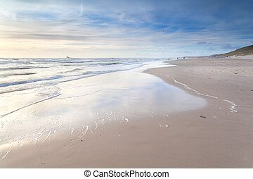 sand beach on North sea, North Holland, Netherlands
