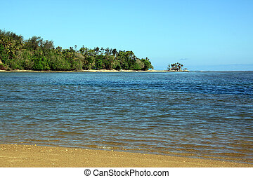 On the sand beach Korolevu on Fiji