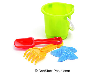 sand / beach toy set: pail, shovel, rake and star-shaped...