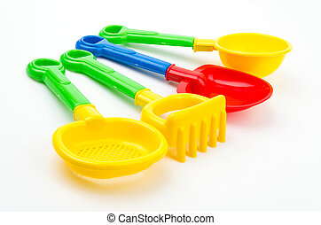 Sand beach toys isolated white background