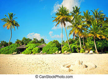 Sand beach with palm trees and blue sky. Holidays background