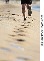 sand, beine, sandstrand, rennender , mann
