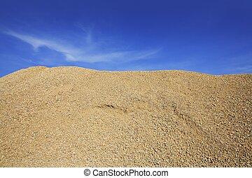 sand, berg, kies, beton, gelber , steinbruch