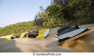 Sand board At The Beach, Qld Island, Australia - Close-up...