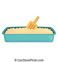 sand box cat bath with shovel