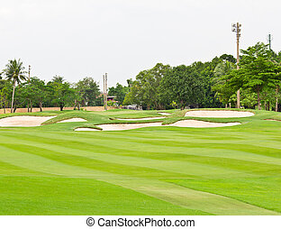 sand bunker in golf course