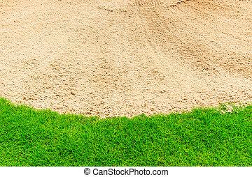 sand bunker, på, den, smukke, golf kurs, og, grønnes græs