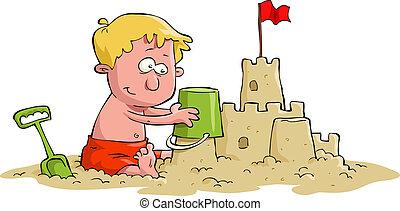 A boy builds a sand castle, vector