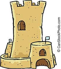 Sand Castle - A cartoon sand castle.