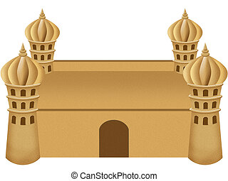 an illustration of a sand castle on a white background