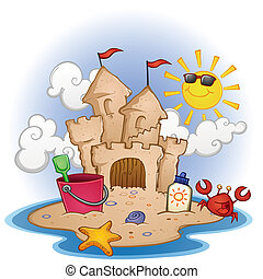 A cartoon scene of a sand castle on a tropical beach with a smiling sun, crab character and beach toys