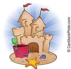 Sand Castle Beach Cartoon - A sandcastle on the beach with a...