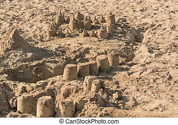 Sand castle on a beach in Spain
