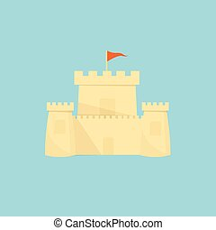 Sand castle on a light blue background