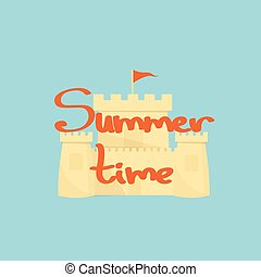 Sand castle on a light blue background with the word summer