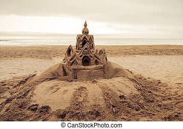 Sand castle on the beach Barcelona. Spain