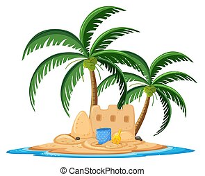 Sand castle on the tropical island cartoon style on white background
