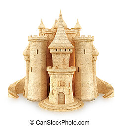 Sand Castle on a white background.